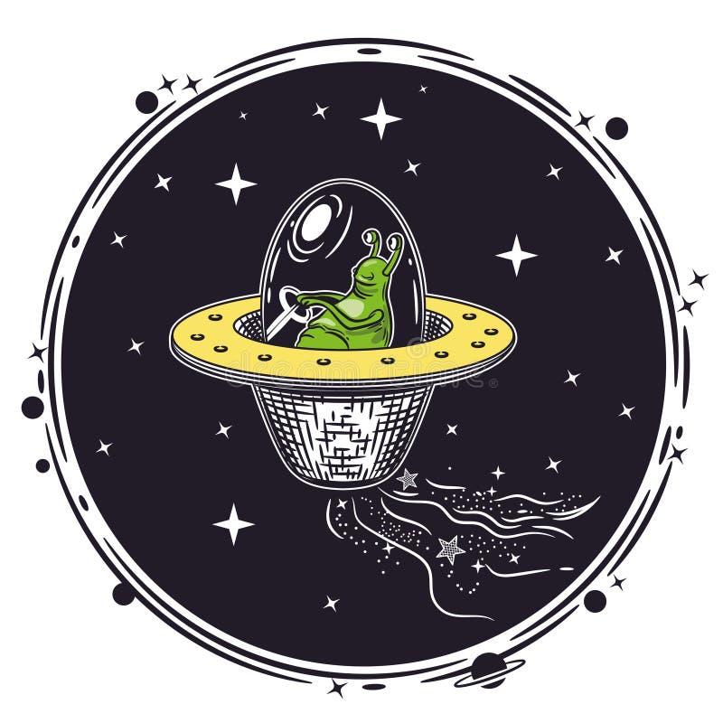 Vektorbild av en främling i en ufo Runt emblem royaltyfri illustrationer