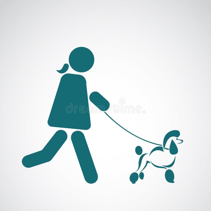 Vektorbild av en gå hund royaltyfri illustrationer