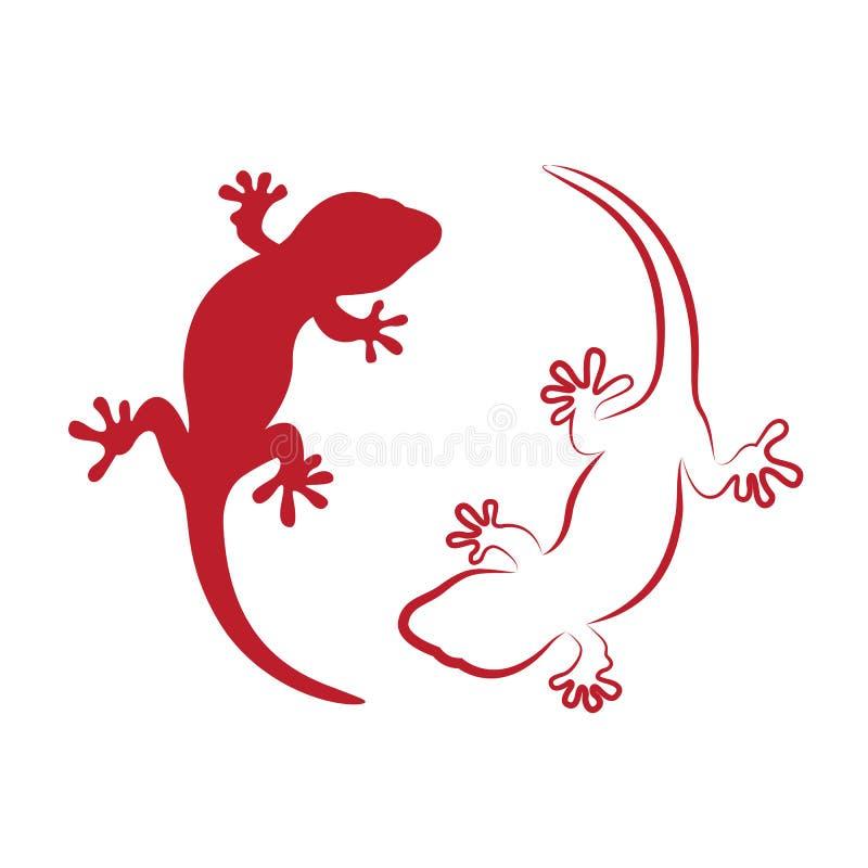 Vektorbild av en gecko stock illustrationer