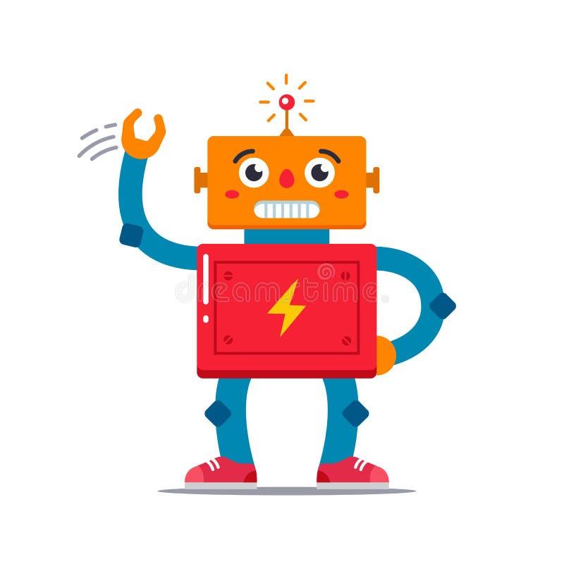 Vektorbild av en gullig robot som vinkar royaltyfri illustrationer