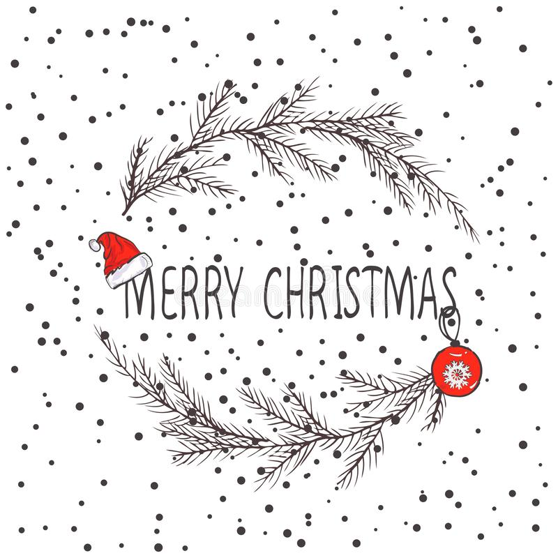 Vektorbild av en julkrans, en krans av gran Inskrift för glad jul i mitten bolljulen isolerade white för mood tre Universellt bru stock illustrationer