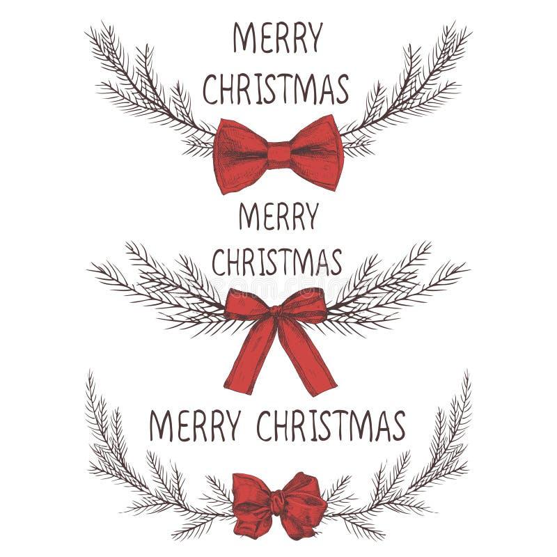 Vektorbild av en julkrans med en pilbåge, en krans av gran Inskrift för glad jul i mitten bolljulen isolerade white för mood tre  vektor illustrationer