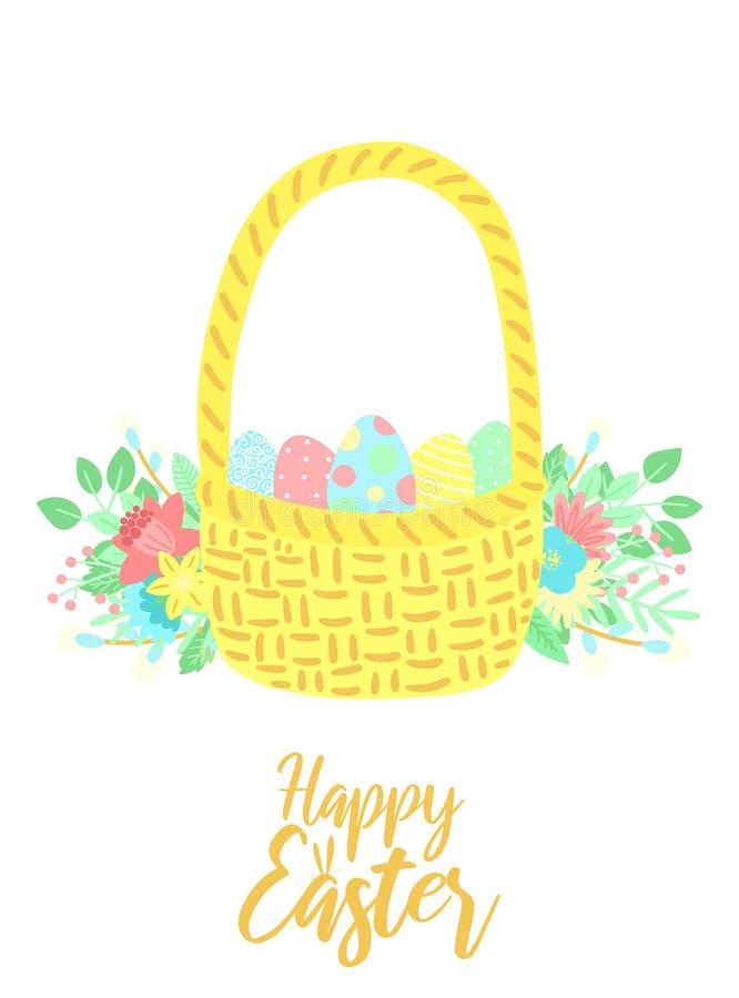 Vektorbild av en korg av ägg med blommor och inskriften på den vita bakgrunden Hand-dragen påskillustration för vår vektor illustrationer