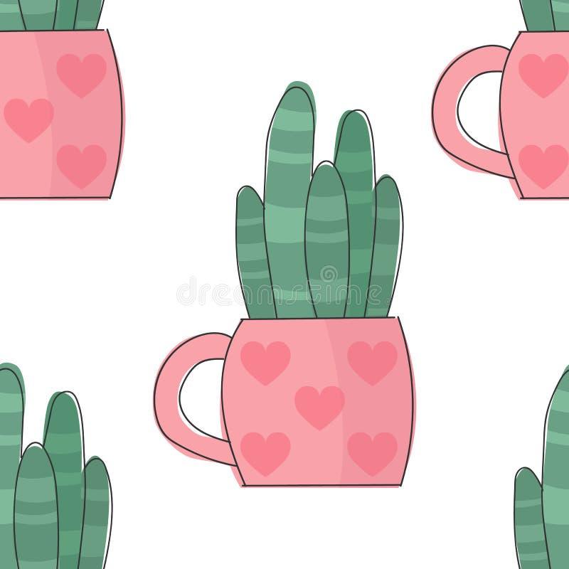 Vektorbild av en kulör kaktus i en rosa blomkruka med hjärtor seamless modell vektor illustrationer
