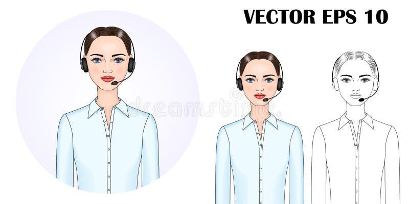 Vektorbild av en kvinna i hörlurar royaltyfri illustrationer