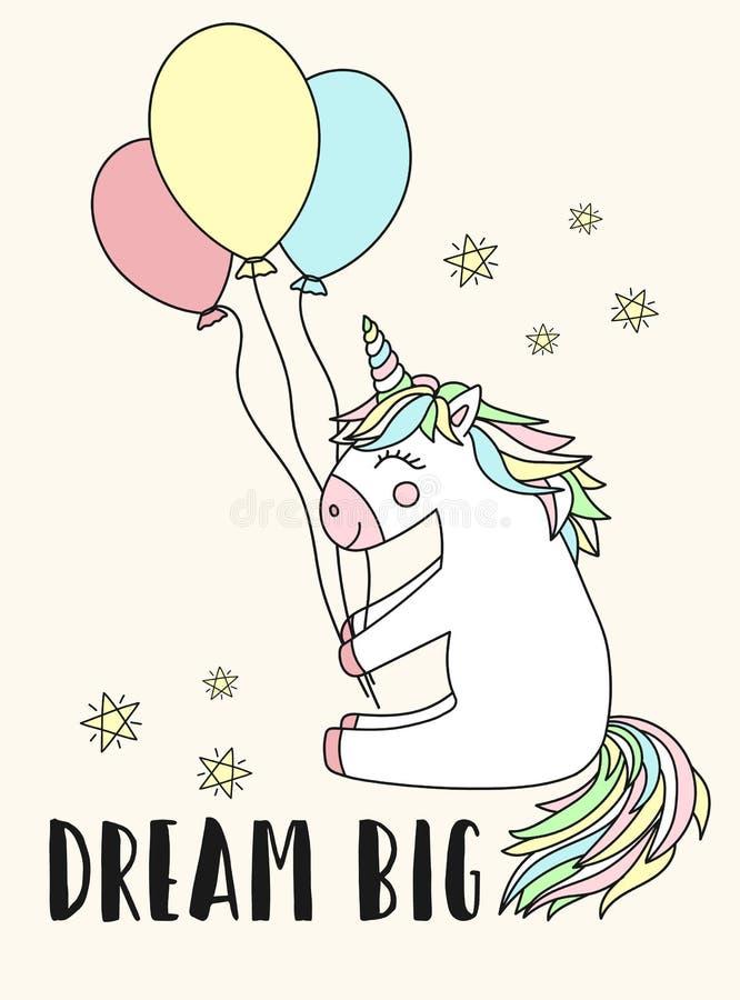 Vektorbild av en lycklig enhörning med ballonger och den stora inskriftdrömmen Begreppet av ferie, baby shower, födelsedagen, par stock illustrationer