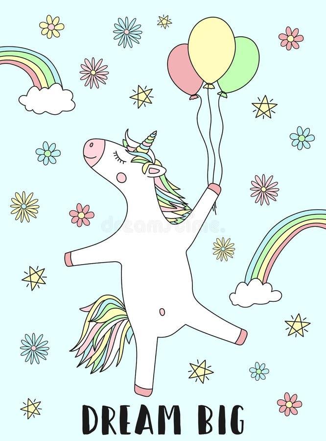Vektorbild av en lycklig enhörning med ballonger och en stor inskriftdröm Illustration av en magisk regnbåge, stjärnor och blommo stock illustrationer
