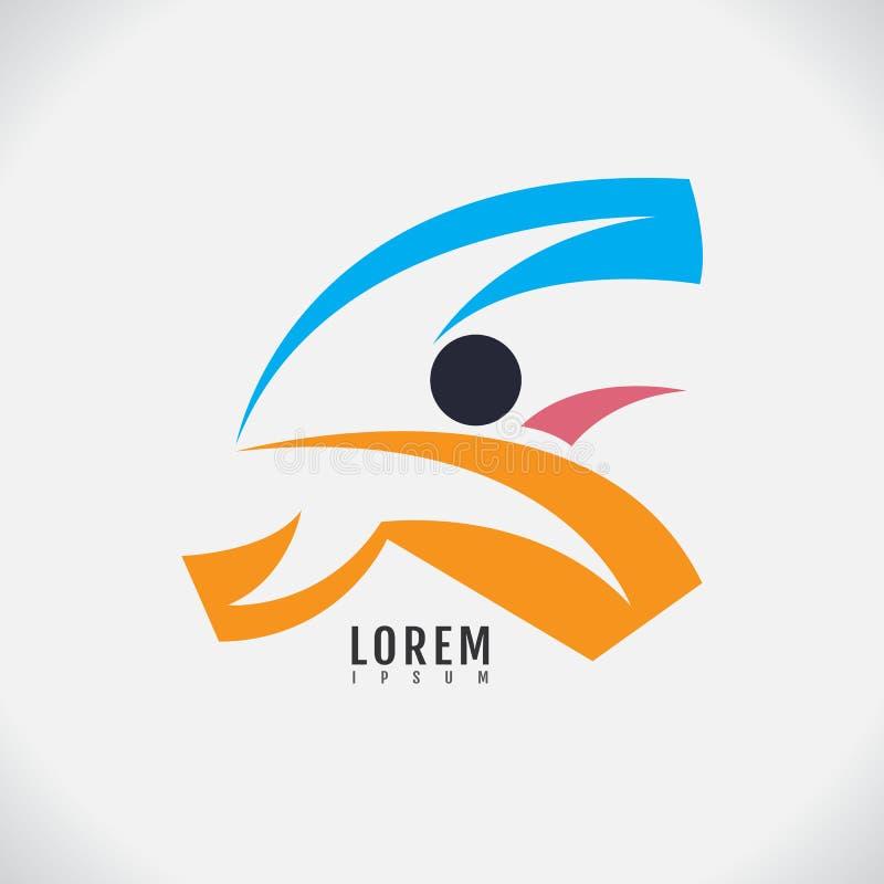 Vektorbild av en mänsklig design på vit bakgrund sport logo vektor illustrationer