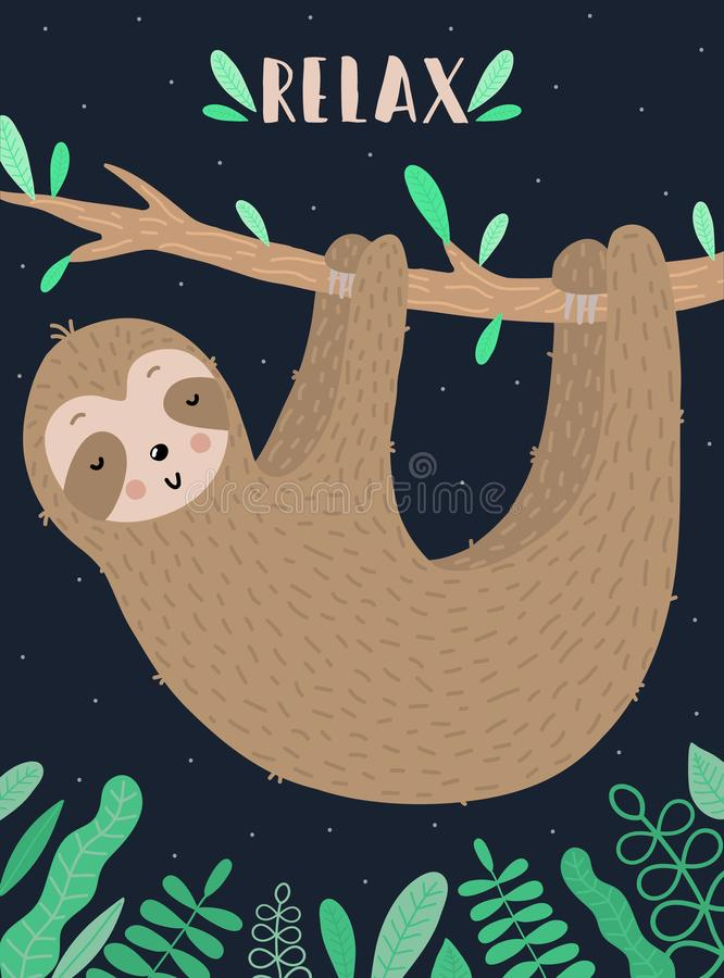 Vektorbild av en sömnig gullig sengångare på filialen i natten E vektor illustrationer
