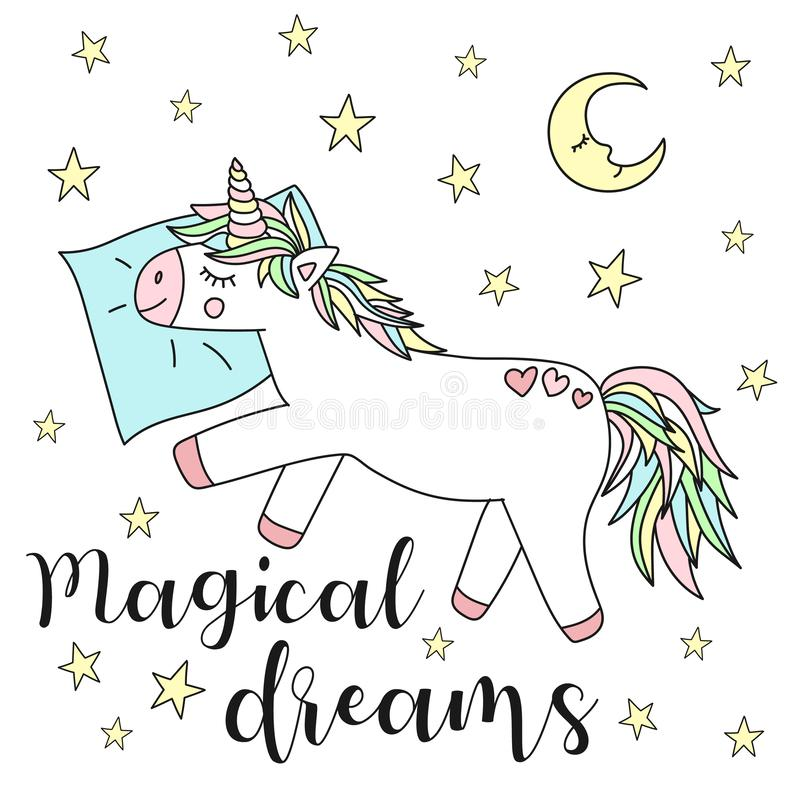 Vektorbild av en sova enhörning på en kudde med stjärnor och månen och inskriften av magiska drömmar Begrepp av sömn, ho vektor illustrationer