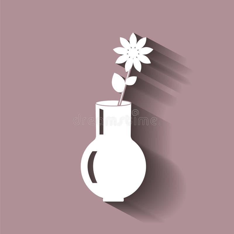 Vektorbild av en vas med en blomma också vektor för coreldrawillustration stock illustrationer