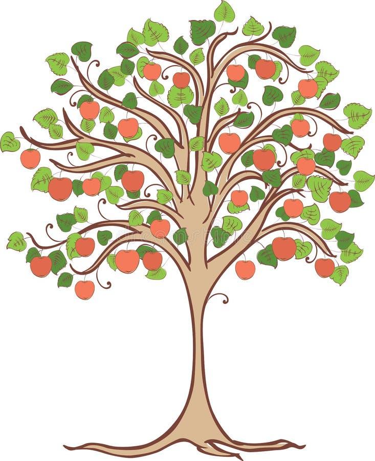 Vektorbild av ett äppleträd med mogna röda äpplen vektor illustrationer