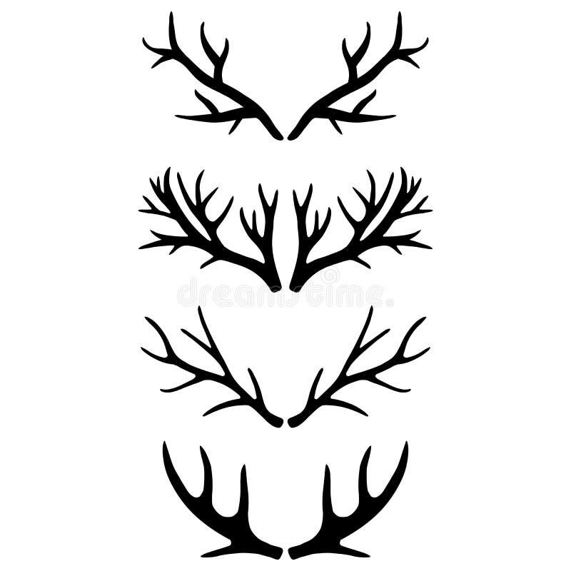 Vektorbild av hjorthorn på en ljus bakgrund Svartvit illustration vektor illustrationer