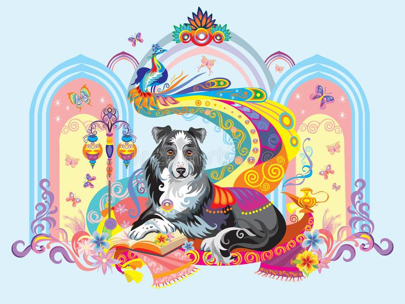 Vektorbild av hunden, symbolet av det nya året 2018 vektor illustrationer