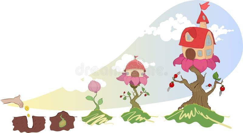 Vektorbild av hus som växer på en blomma vektor illustrationer