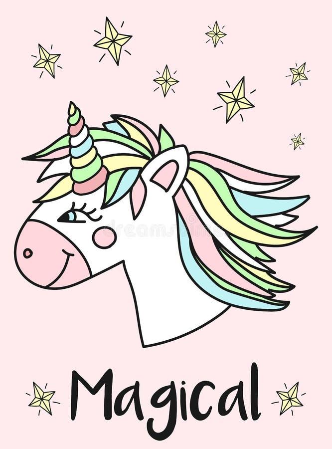 Vektorbild av huvudet av en glad enhörning, stjärnor och den magiska inskriften Begrepp av ferie, baby shower, födelsedag, parti, vektor illustrationer