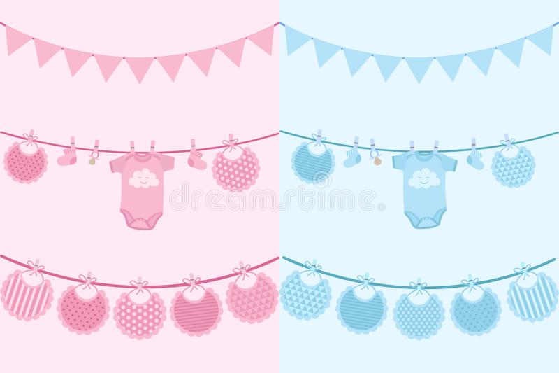 Vektorbild av inbjudankort för newborns på feriebaby shower Illustration för pojkar och flickor med haklappar, glidare och f vektor illustrationer