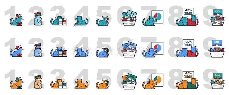 Vektorbild av katter för att marknadsföra och presentationer stock illustrationer