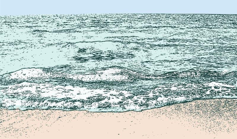 Vektorbild av kust- vågor stock illustrationer