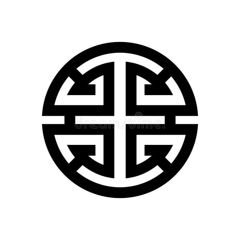Vektorbild av symbolet av lycka och lycka i kines- och Feng Shui filosofi stock illustrationer