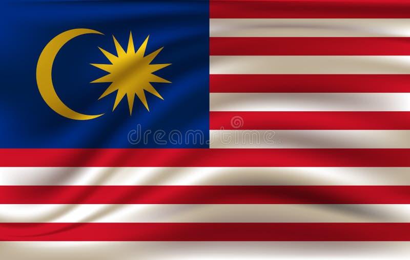Vektorbild av tillståndet av Malaysia den vinkande flaggan royaltyfri illustrationer