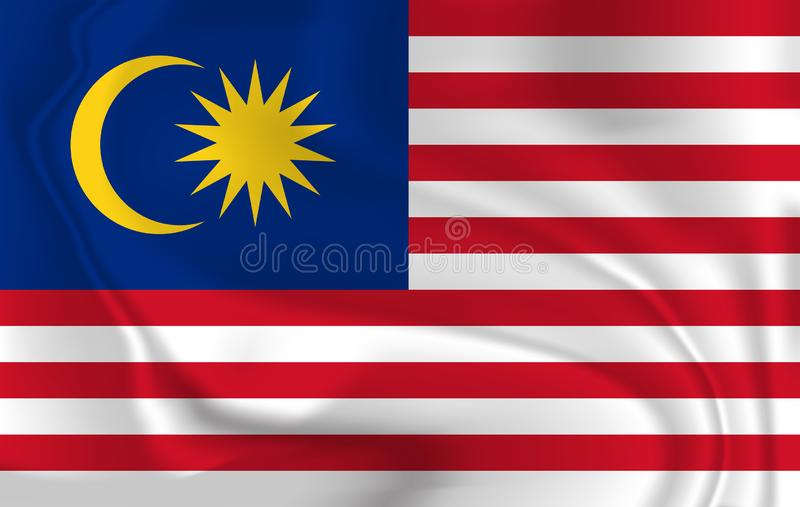 Vektorbild av tillståndet av Malaysia den vinkande flaggan vektor illustrationer