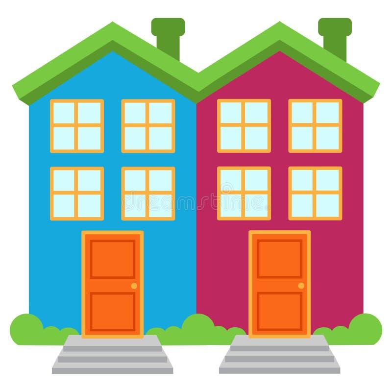 Vektorbild av två ljust färgade Halv-fristående hus royaltyfri illustrationer