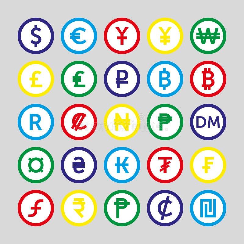 Vektorbild av upps?ttningen av valutasymboler royaltyfri illustrationer