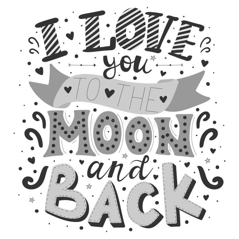 Vektorbild der Aufschrift ich liebe dich zum Mond und zur Rückseite auf einem hellen Hintergrund Schwarzweißabbildung für Valenti lizenzfreie abbildung