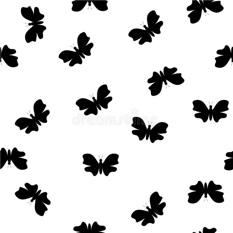 Vektorbild des gelegentlichen Schwarzweiss-Schmetterlingsmusters lizenzfreie abbildung