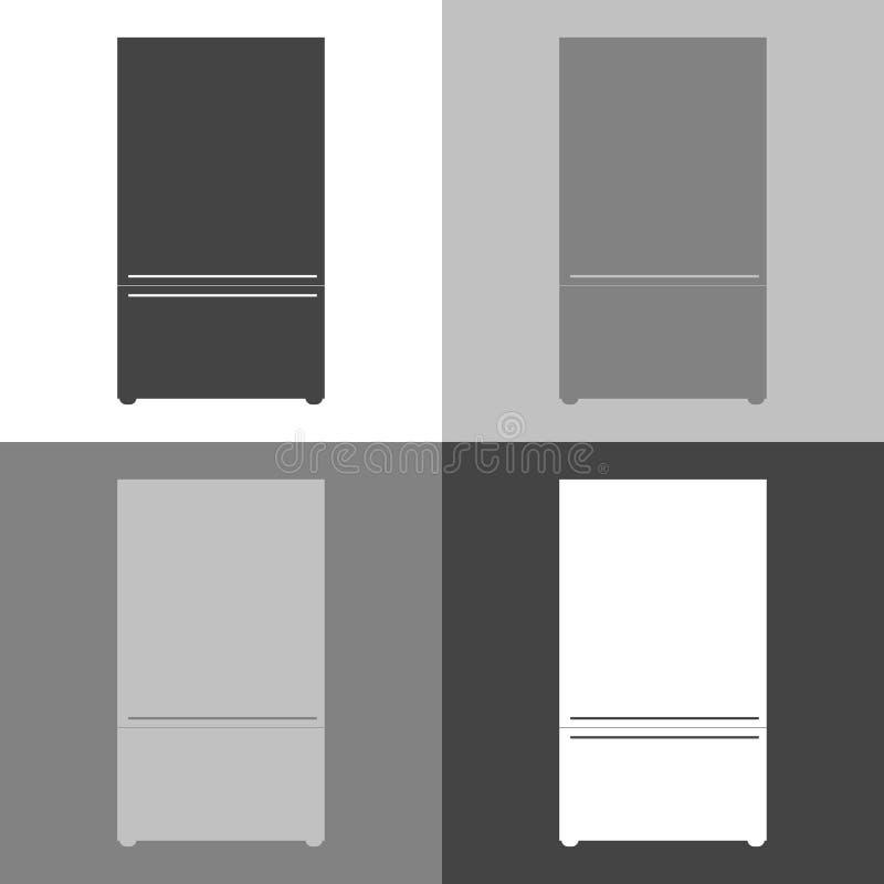 Vektorbild des Kühlschranks Kühlschrankikone Vektor weißes IC stock abbildung