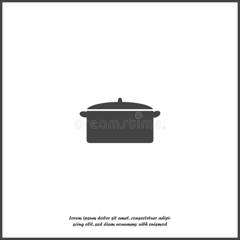 Vektorbild des Topfes für das Kochen der Ikone auf weißem lokalisiertem Hintergrund vektor abbildung