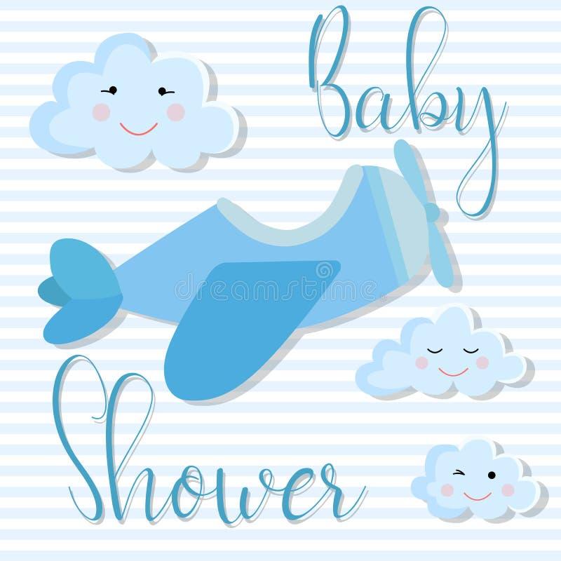 Vektorbild einer Einladungskarte f?r eine Kinderparty Babypartyillustration für Jungen auf blauem gestreiftem Hintergrund mit air vektor abbildung