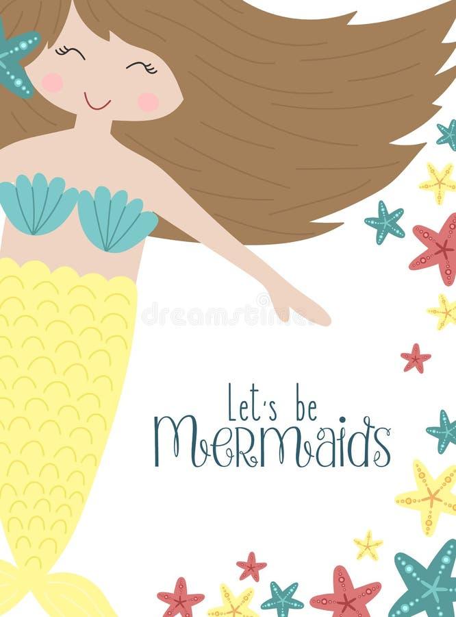 Vektorbild einer netten kleinen brunette Meerjungfrau mit Starfishes unter Wasser Seevon hand gezeichnete Illustration für Mädche lizenzfreie abbildung