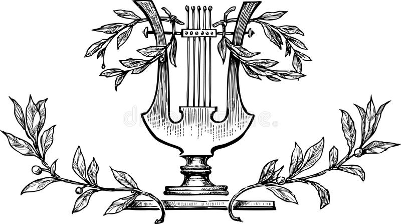 Lyre mit Lorbeerniederlassungen stock abbildung