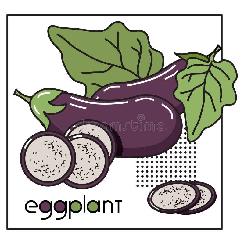 Vektorbild eines Gemüses mit der ursprünglichen Aufschriftaubergine lizenzfreie abbildung
