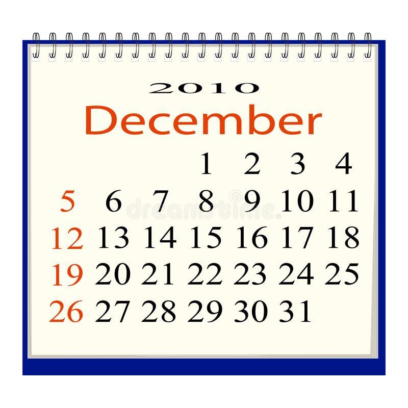Vektorbild eines Kalenders für Dezember lizenzfreie abbildung