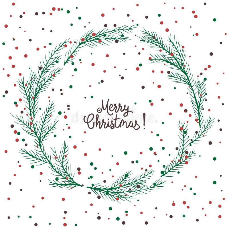 Vektorbild eines Weihnachtskranzes, ein Kranz der grünen Tanne Aufschrift der frohen Weihnachten in der Mitte Drei Weihnachtskuge stock abbildung