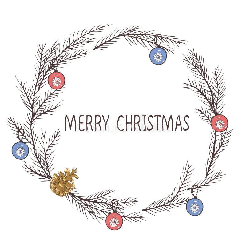 Vektorbild eines Weihnachtskranzes, ein Kranz der Tanne Aufschrift der frohen Weihnachten in der Mitte Drei Weihnachtskugeln getr lizenzfreie abbildung