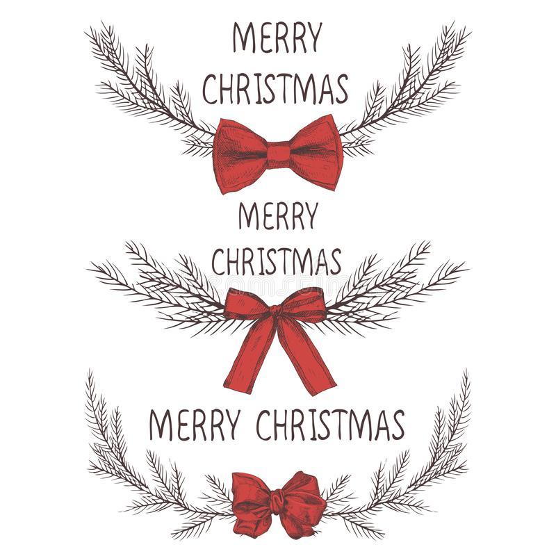Vektorbild eines Weihnachtskranzes mit einem Bogen, ein Kranz der Tanne Aufschrift der frohen Weihnachten in der Mitte Drei Weihn vektor abbildung