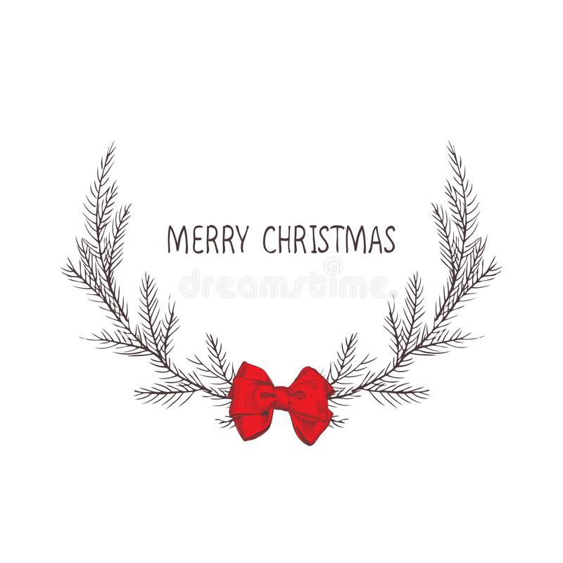 Vektorbild eines Weihnachtskranzes mit einem Bogen, ein Kranz der Tanne Aufschrift der frohen Weihnachten in der Mitte Drei Weihn stock abbildung