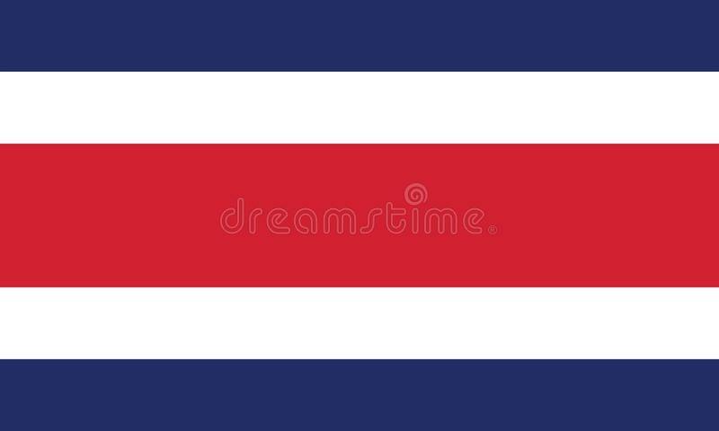 Vektorbild för den Costa Rica flaggan Baserat på representanten och de exakta Costa Rica flaggamåtten & färgerna vektor illustrationer