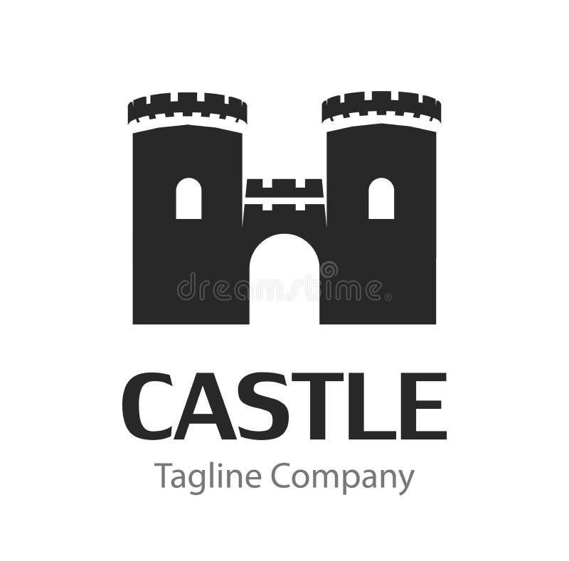 Vektorbild med den svarta konturn av den medeltida slotten som isoleras på vit bakgrund royaltyfri illustrationer