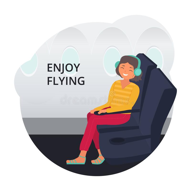 Vektorbild med en ung kvinna som sitter på planet och njuter av flygningen Mall för bekvämt flygkoncept stock illustrationer