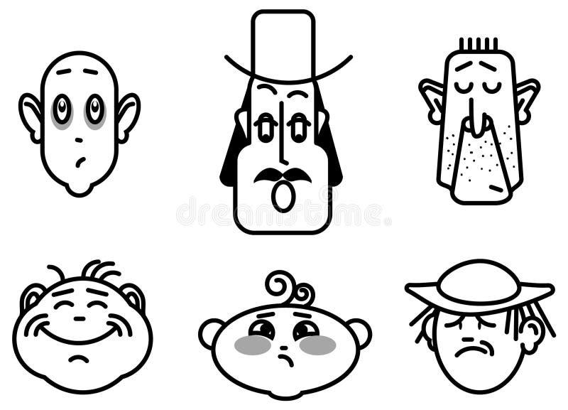 Vektorbild von Emoji, Bilder von Gesichtern lizenzfreie abbildung