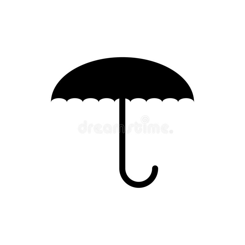 Vektorbild von flachem, lokalisiert, Regenschirmikonen Entwerfen Sie eine mattschwarze Regenschirmikone lizenzfreies stockfoto