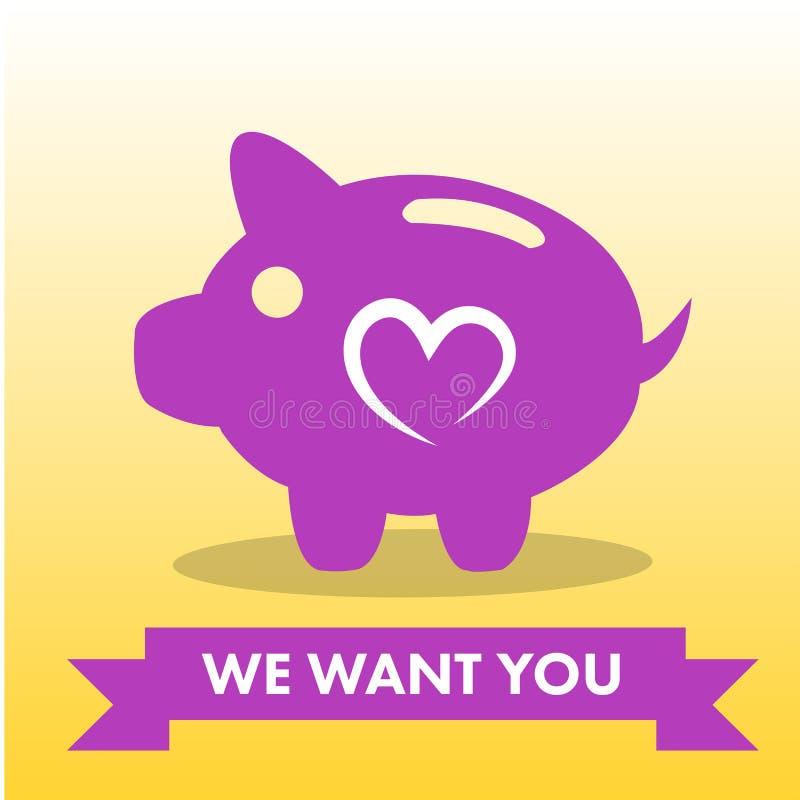 Vektorbild von rosa Sparschwein mit Text wünschen wir Sie lizenzfreie abbildung