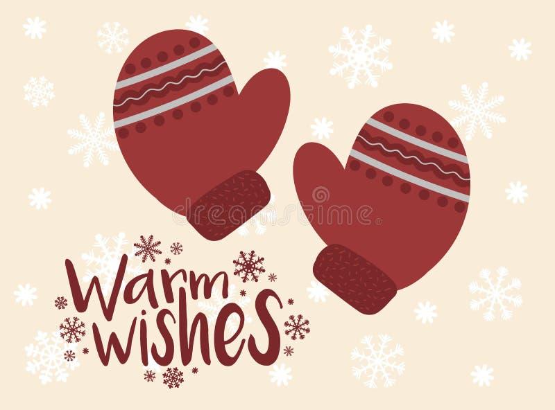 Vektorbild von roten Handschuhen der Karikatur Winter-Weihnachts- und Weihnachtsillustration Von Hand gezeichnete Grußkarte gegen stock abbildung