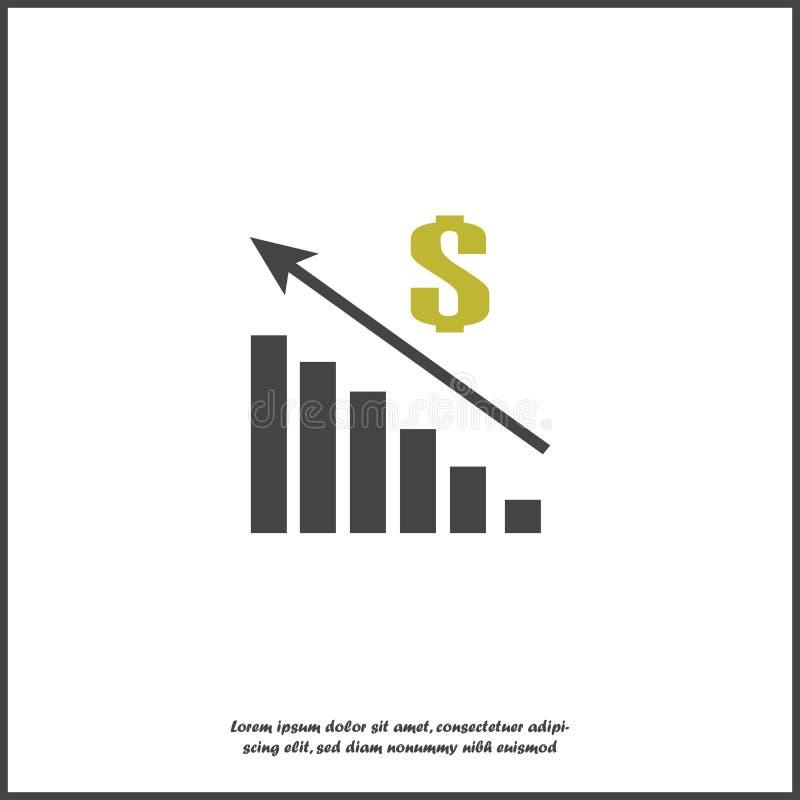 Vektorbilddiagram av finansiell tillväxt Finans som lyfter symbolen, pengarförhöjning Försäljningar ökar på vit isolerad bakgrund royaltyfri illustrationer