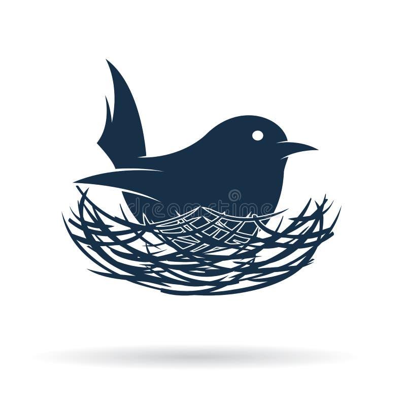 Vektorbilden av en fågel kläcker hennes ägg i rede stock illustrationer